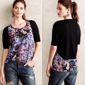 Anthro Yellow Bird Last Act Floral Print Top